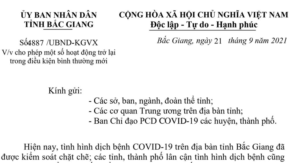 Bắc Giang: Cho phép nhà hàng và một số dịch vụ hoạt động trở lại